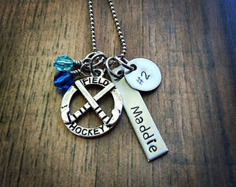 Hand Stamped Personalized Field Hockey Necklace - Field Hockey Gifts - Girls Field Hockey Team Gift - Pick Team Colors