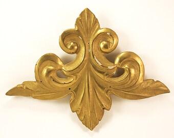 Gold Leaf, Decorative Ornament, Acanthus-Flourish, Architectural Element, Pediment Application, Relief 18th Century