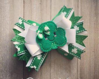 St. Patrick's Day Shamrock Cutie Hair Bow, Bow & Headband Set