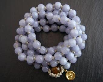 Mala, Aquamarine, Long Beaded Necklace, Mala Bracelet, Gemstone Beads, Hand Knotted, Gold, Sterling Silver, Charm, Om, Lotus Flower, Leaf