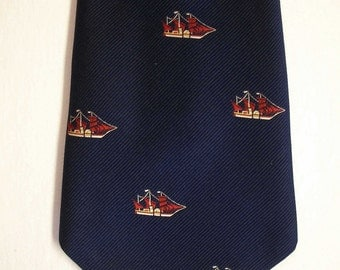 """Men's Nautical Sailboats vintage Navy Blue """"Kipper"""" The Hub by Austin Beany of West Virginia wide neck tie"""