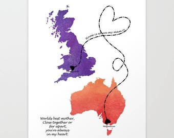 Mother's day gift map, Mother of the bride map,Mom gift moving, custom mother gift digital print, long distance relationship, love art print