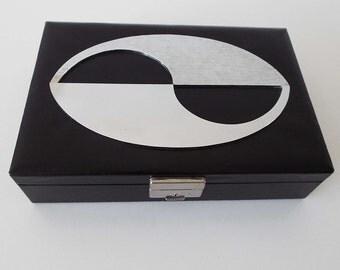 Vintage 1970's Swedish Jewellery Box Design Philipp Black & Silver Texture Storage Box Trinket Box