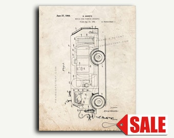 Patent Print - Mobile Fire Fighting Apparatus Patent Wall Art Poster