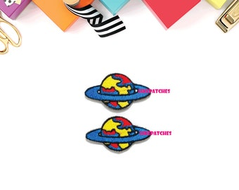 Set 2pcs. Blue Galaxy, World, Earth New Sew / Iron On Patch Embroidered Applique Size 4cm.x2.2cm.