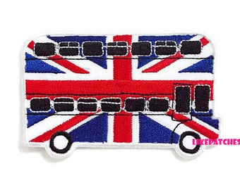 Flag Of England London Bus New Sew / Iron On Patch Embroidered Applique Size 9.2cm.x5.8cm.