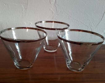 Vintage 50's Silver Rimmed Stemless Dorothy Thorpe style Martini glasses