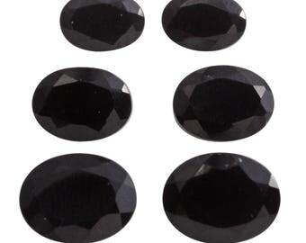 Black Tourmaline Oval Cut Set of 6 Loose Gemstones 1A Quality 2-7x5mm, 8x6mm, 9x7mm TGW 7.00 cts.