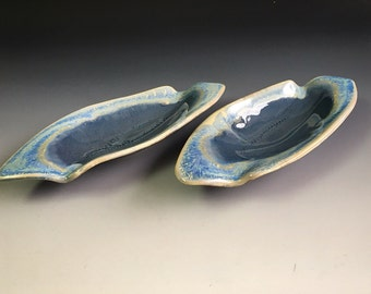 Blue Plates, Set of 2, Hand Built Pottery, Ceramic Dishes, Dessert Plates, Unique Pottery, Ceramics, Each plate 9.5 x 3.5 in. Food safe