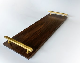 Black Walnut and Brass Modern Cheese Serving Tray