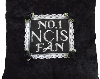 Hand made cross stitched NCIS fan cushion