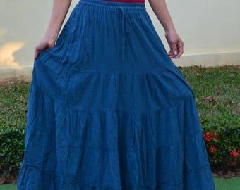 Floor Length Maxi Skirt Big Plus Size Maxi Skirt Flared Maxi Skirt Pleated Long Skirt Floor Maxi Skirt Cheap Skirt Long Loose Skirt *SM-blue