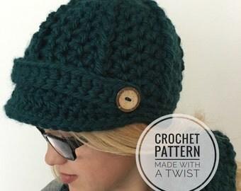 Ribbed Newsboy Cap CROCHET PATTERN - Newsboy Hat Pattern - Brimmed Hat - Visor Cap - Crochet Hat Pattern - Pageboy Hat Pattern