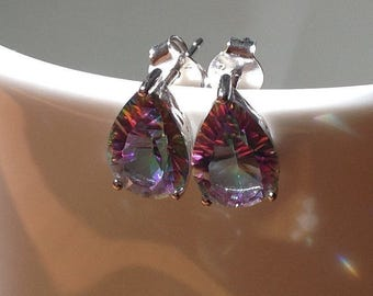 Pear-cut  Rainbow Fire Mystic Topaz Sterling Silver Stud Earrings