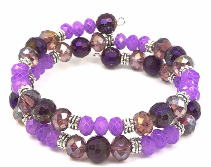Purple memory bracelet, purple beaded bracelet, memory wire bracelet, purple bracelet, purple wrap bracelet