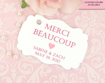 Merci tags (30) - Wedding tags - Merci gift tags - Bridal shower tags - Wedding favor tags - Wedding gift tags