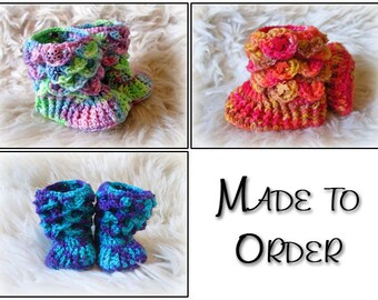 Baby pixie booties, made to order, dragon scale booties, crocodile stitch, handmade booties, crocheted booties, baby booties