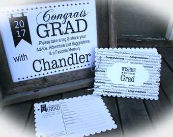 Set of 25 Graduation Party Decorations, Grad Party Idea | Grad Party Decor,Graduation Party Idea-includes unframed sign  2017 Grad-ScGRAD105