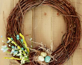 Easter Wreath Rustic Twig Eggs Nest and Easter Sprays
