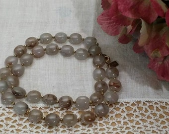 """1960s Vintage Signed Bergere Faux Brown Fawn Stone Gold Tone Necklace 16"""""""