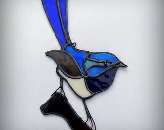 FAIRY WREN suncatcher stained glass blue bird Superb Fairy-wren