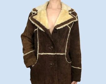 Vintage Leather Coat~Size Small/Medium~60s 70s 80s Style~Brown Genuine Leather Suede~Faux Fur Lined Jacket~By Bottom Line