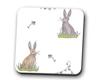 coaster, bunny gift, rabbit lover gift, hare, bunny, rabbit, coaster set, wood coaster, pet mum gift, gift for her, gift for women,tableware