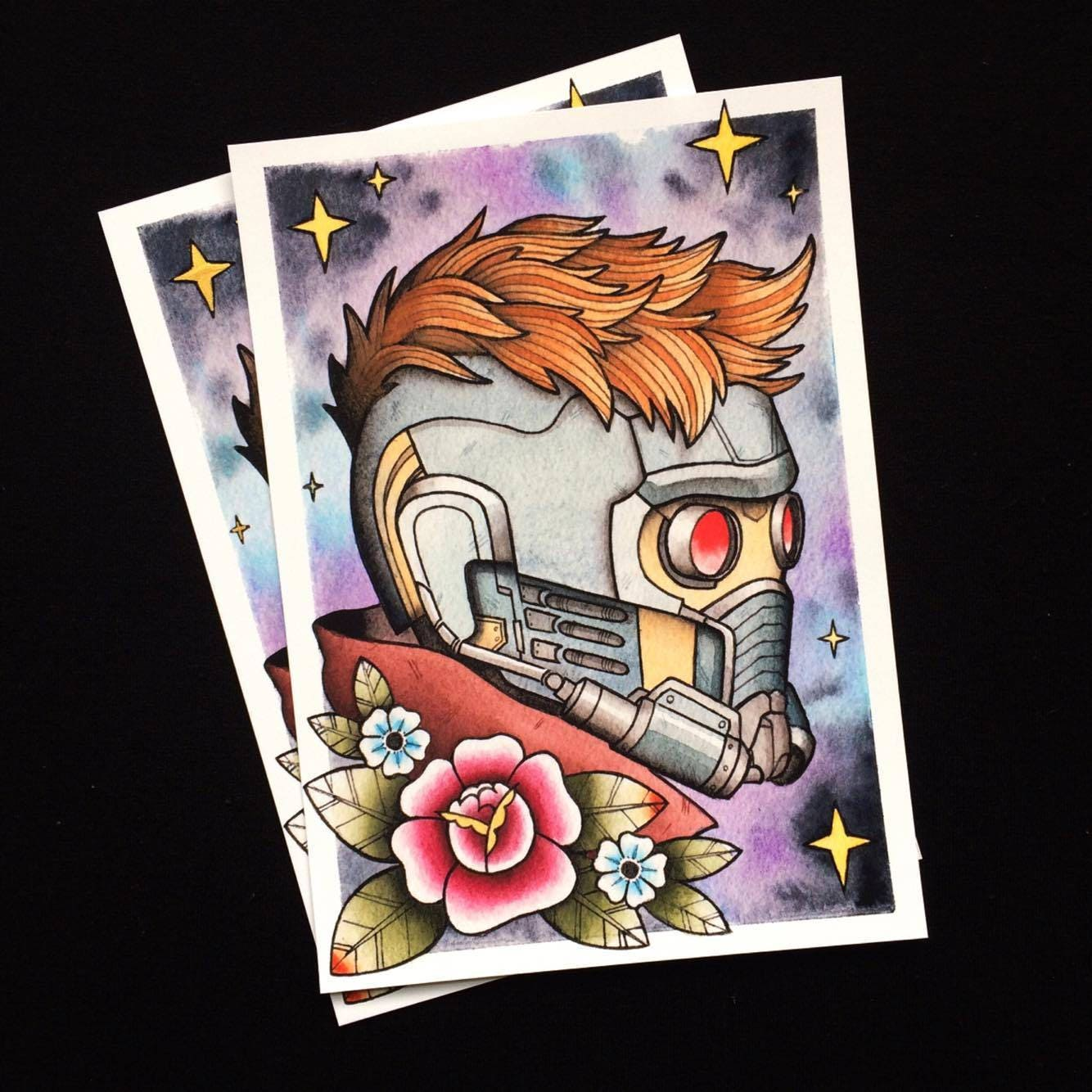 Guardians Of The Galaxy Star Lord Tattoo Flash PRINT By