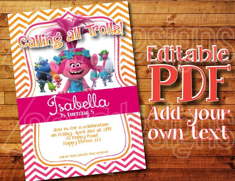It's just a picture of Vibrant Trolls Birthday Invitations Printable