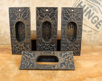 4 Vintage, Eastlake, Iron, Bronze and Black, Door Pulls.  Item411h