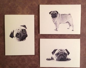 Set of 6 or 12 Handmade Blank Pug Dog Print Note Cards