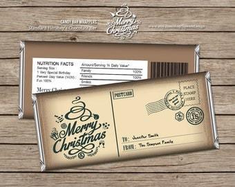 Christmas Candy Bar Wrappers editable PDF Santa Merry Christmas Printable Instant Download Editable PDF