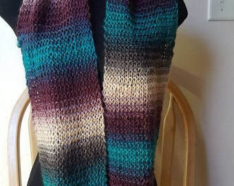 Acrylic blend Infinity Scarf - Purple/Gray/Teal/Cream