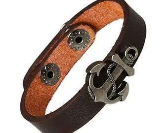 Anchor Charm Bracelet With Snap Closure, Brown Leather Braclet for Men Women  CH-19