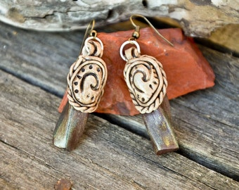 GYPSY FAIRY EARRINGS antique style maori, Earth element