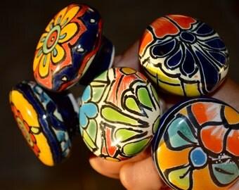 7 Multicolor Talavera Knobs