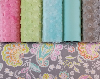 Weighted Blanket - Pastel Paisley - Minky - Cotton - Feminine - For Her - Adult, Teen, Child - Whimsical - Paiseley - Floral - Custom