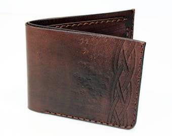 Leather wallet, brown wallet, great leather item, brown men's wallet, credit card wallet, gift for men, leather wallet with celtic knot.