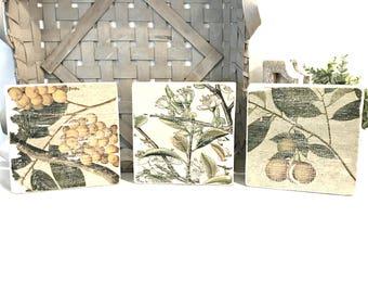 SET OF 3 Botanical Wood Tiles - Botanical Wood Tiles - Botanical Wall Art - Rustic Decor - Rustic Botanical Art - Country Cottage Decor