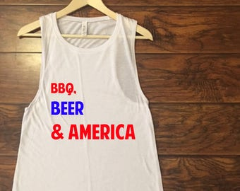 BBQ, Beer and AMERICA Muscle Tank
