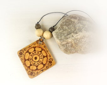 Zen necklace with mandala and Namastè on wooden pendant; gift idea for mom and best friend; handmade necklace, made in Italy.