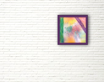 Abstract watercolor painting. Original home decor wall hanging. Violet green yellow.