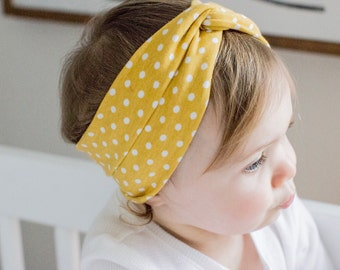 ADULT Maize polka dots: turban headband