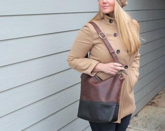 The MARIA Handbag TWO TONED, Leather Purse, Two Toned Leather Bag, Leather Purse, Shoulder Adjustable Cross Body Bag, Megans Mark