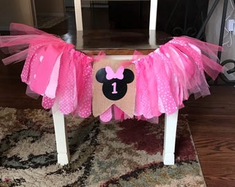 Minnie Mouse High Chair Banner.  Minnie Mouse Birthday.  Birthday Banner.