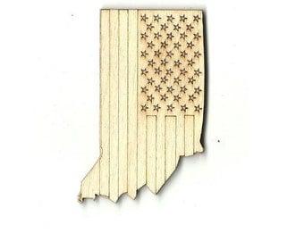 Indiana US Flag - Laser Cut Out Unfinished Wood Shape Craft Supply USA10