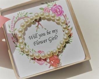 Ask Flower Girl Pearl Bracelet/ Bridesmaids gifts/ Flower Girl/Wedding Gifts & Mementos