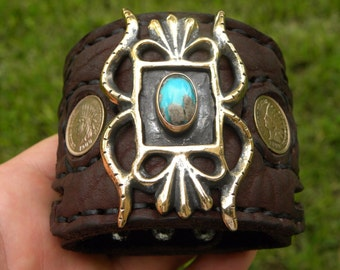 Turquoise Indian Head penny coin ketoh bracelet wristband Bison leather customize to wrist size Native Indian Navajo style handcrafted
