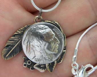 Vintage Authentic circulated readable dates US Buffalo Indian Nickel coin handmade Brass pendant feather necklace nice gift for FSU Seminole
