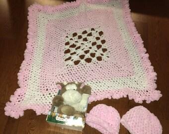Beautiful Baby Pink and Cream Soft Newborn Baby Blanket and Matching Beanie
